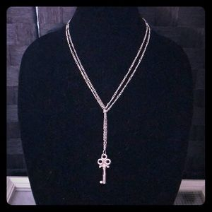 Antique styled skeleton key silver necklace wrap